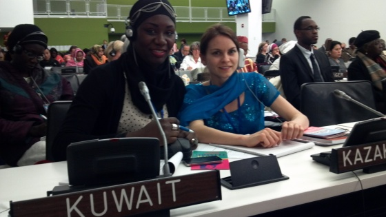 Bineta Diop and Jessica Buchleitner at the high level roundtable of UN Commission on the Status of Women.